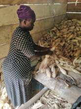 Ayishetu prepping the maize for the tom brown.