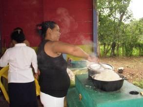 Mothers preparing meal