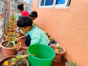 children learning skill during lockdown in shelter