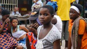Young girls working as head porters in Accra