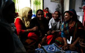 Women talking in a UNFPA safe space.