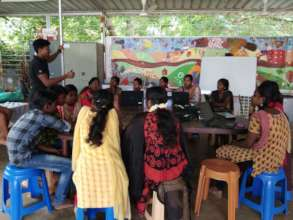 Computer literacy class during summer camp
