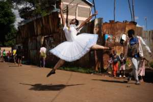 Mercy dancing on the streets of Kibera
