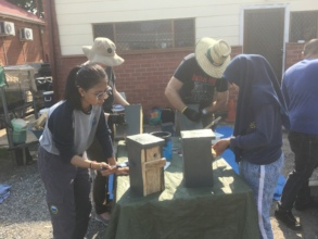 Volunteers busy building nesting boxes