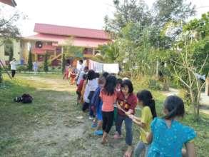Volunteers' outdoor activity at Burmese temple