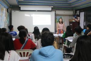 """Lulu teaching """"theme"""" in GED English class"""