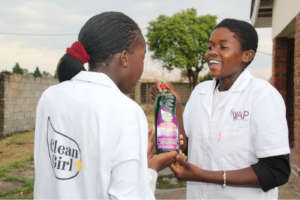 Tanatswa, right, is a skilled soap-maker