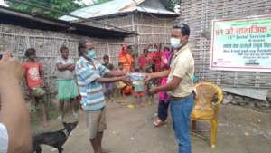 Distribution of masks and soap
