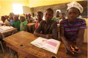 Students of Tirboye studying for exams