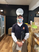 CEO with homemade mask