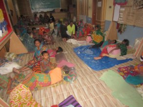 Villagers taking shelter at the BEDS center