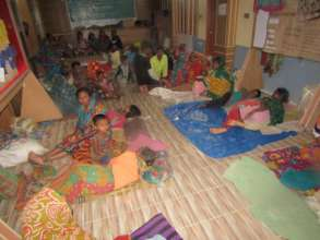 Villagers taking shelter during cyclone amphan