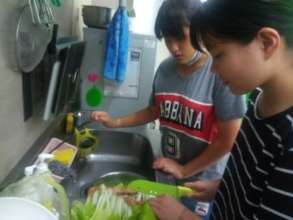 children learning cooking