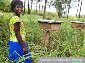 Pamella enjoy her bee farm