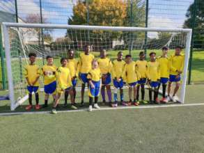The winning team at the football pitch