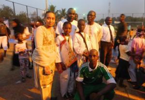 CEO with winning children at Taekwondo