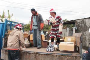 Staple foods delivery with help from the locals
