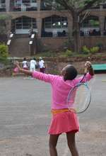 Agnes is ready to take her serve