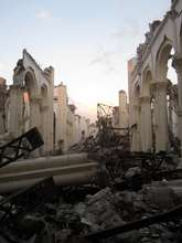 The remains of a church in Haiti