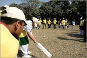 Blind cricket played by one of the female campers