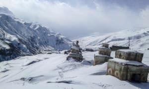 Winter landscape in village of Saldang