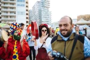 Clowns protesting, Beirut [Photo: Nadim Kamel]