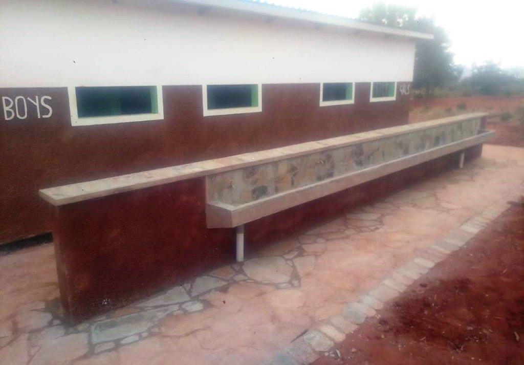 New toilets at a primary school in rural Kenya.