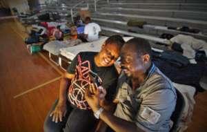 Bahamian storm survivors at a shelter