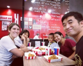 Last day of school KFC dinner with Hannah and Pat