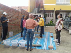 Women students from university help build filters