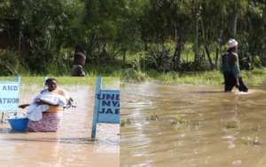 Awomen Escaping the flood area to a higher ground