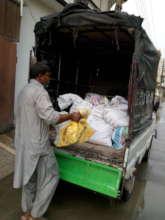 food package loaded in van