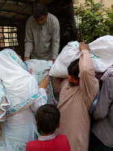 cash and food package distributed