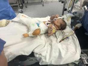 Little Amina getting intensive care in FMIC