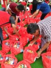 CJF Volunteers prepping up the relief goods