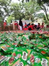Thousands of relief goods for packing