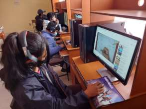 Children use the new computers