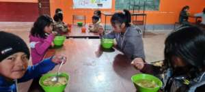Children eating lunch, socially distanced