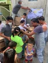 Families receiving relief supplies