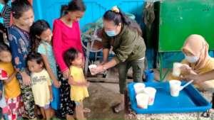 Children arriving to evacuation center