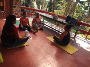 Mothers of the family in Yoga session