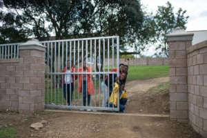 Happy children in a safer village