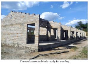 Three-classroom block ready for roofing