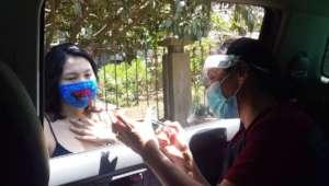 Nurse Daisy providing info on pills from our car