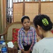Our counsellor working with one of our women.
