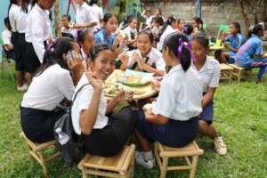Girls enjoying lunch on International Women's Day