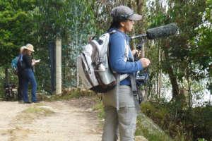 Monitoring birdlife, next to Lake Tota