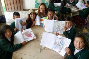 Children & teachers, showing bird colouring pride