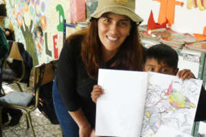 Happy time, Juanita & a pupil after bird colouring