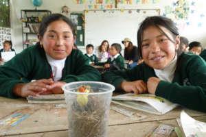 Kids in rural school of Guaquira, with a made bird